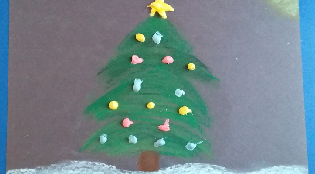 Christmas tree art project with kids.